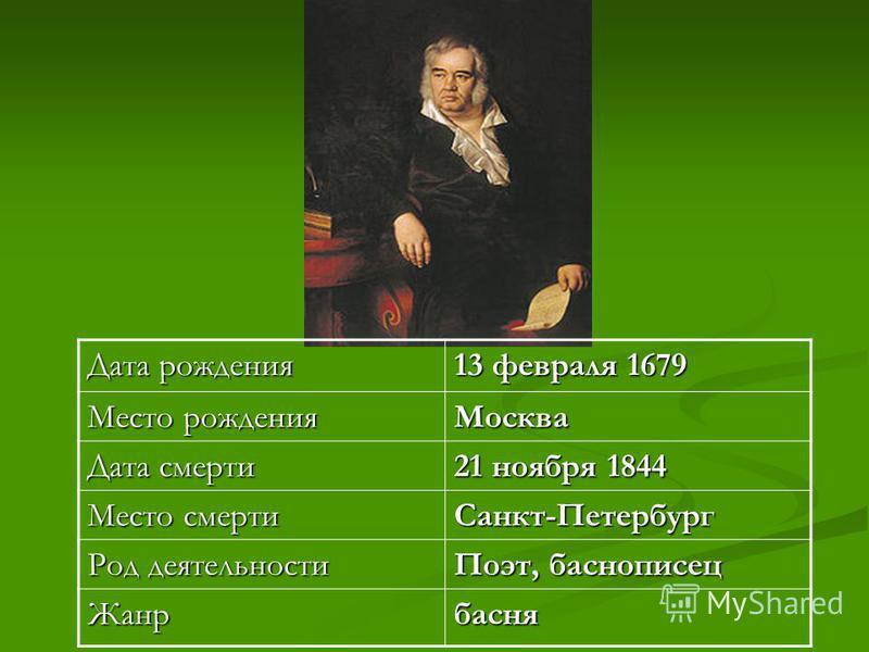 Дата рождения 13 февраля 1679 Место рождения Москва Дата смерти 21 ноября 1844 Место смерти Санкт-Петербург Род деятельности Поэт, баснописец Жанрбасня