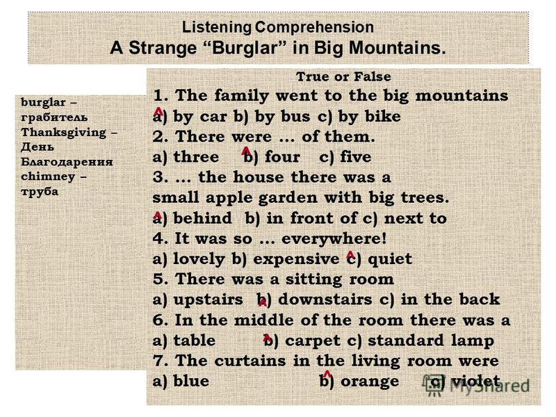 Listening Comprehension A Strange Burglar in Big Mountains. burglar – грабитель Thanksgiving – День Благодарения chimney – труба True or False 1. The family went to the big mountains a) by car b) by bus c) by bike 2. There were … of them. a) three b)