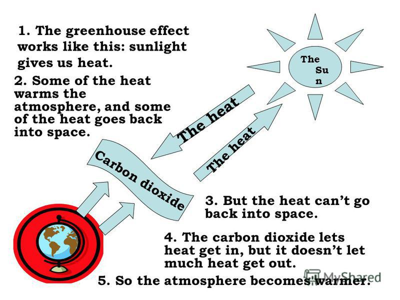 The Su n The heat 1. The greenhouse effect works like this: sunlight gives us heat. 2. Some of the heat warms the atmosphere, and some of the heat goes back into space. 3. But the heat cant go back into space. 4. The carbon dioxide lets heat get in,