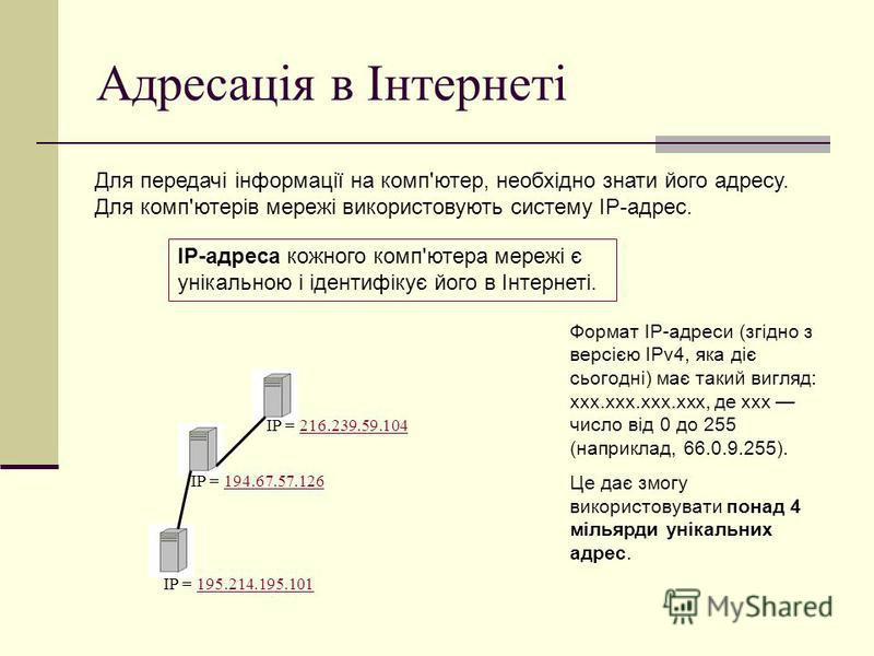 Адресація в Інтернеті Для передачі інформації на комп'ютер, необхідно знати його адресу. Для комп'ютерів мережі використовують систему IP-адрес. IP-адреса кожного комп'ютера мережі є унікальною і ідентифікує його в Інтернеті. Формат IP-адреси (згідно
