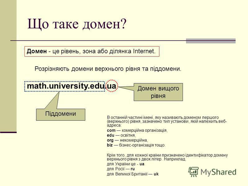 Що таке домен? Домен - це рівень, зона або ділянка Internet. В останній частині імені, яку називають доменом першого (верхнього) рівня, зазначено тип установи, якій належить веб- адреса: com комерційна організація, edu освітня, org некомерційна, biz