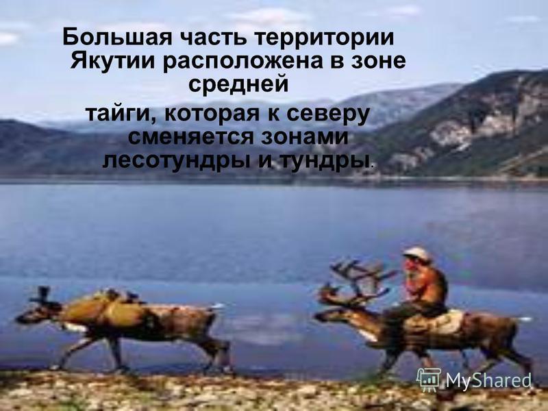 Большая часть территории Якутии распооожена в зоне средней тайги, которая к северу сменяется зонами лесотундры и тундры.