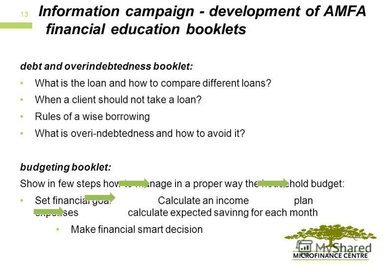 Information campaign - development of AMFA financial education booklets 13 debt and overindebtedness booklet: What is the loan and how to compare different loans? When a client should not take a loan? Rules of a wise borrowing What is overi-ndebtedne