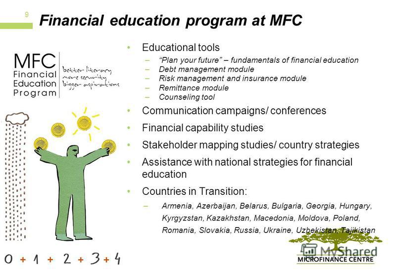 Financial education program at MFC Educational tools –Plan your future – fundamentals of financial education –Debt management module –Risk management and insurance module –Remittance module –Counseling tool Communication campaigns/ conferences Financ