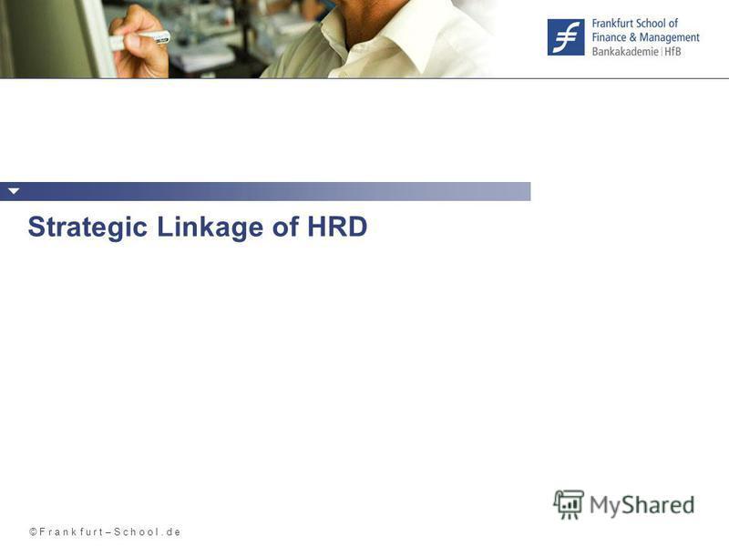 © F r a n k f u r t – S c h o o l. d e Strategic Linkage of HRD