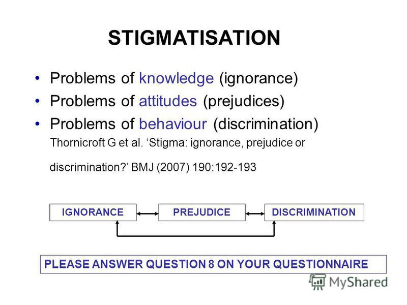 STIGMATISATION Problems of knowledge (ignorance) Problems of attitudes (prejudices) Problems of behaviour (discrimination) Thornicroft G et al. Stigma: ignorance, prejudice or discrimination? BMJ (2007) 190:192-193 IGNORANCEPREJUDICEDISCRIMINATION PL