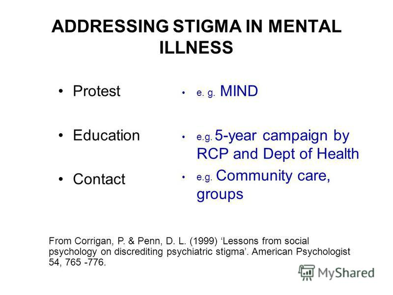 ADDRESSING STIGMA IN MENTAL ILLNESS Protest Education Contact e. g. MIND e.g. 5-year campaign by RCP and Dept of Health e.g. Community care, groups From Corrigan, P. & Penn, D. L. (1999) Lessons from social psychology on discrediting psychiatric stig