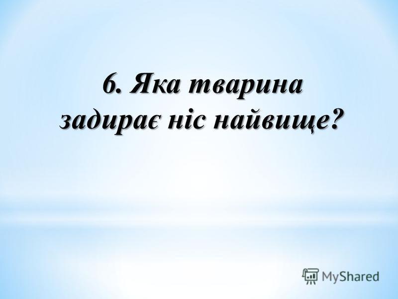 6. Яка тварина задирає ніс найвище?