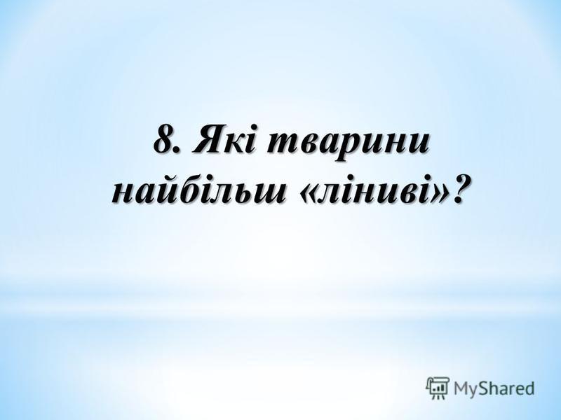 8. Які тварини найбільш «ліниві»?