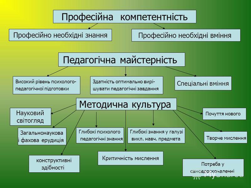 Професійна компетентність Професійно необхідні знання Професійно необхідні вміння Педагогічна майстерність Високий рівень психолого- педагогічної підготовки Здатність оптимально вирі- шувати педагогічні завдання Спеціальні вміння Методична культура Н