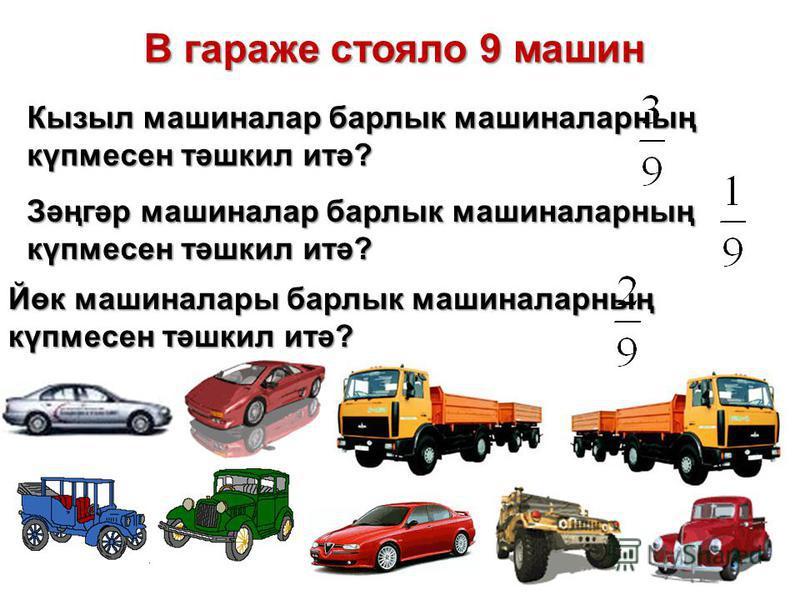 В гараже стояло 9 машин В гараже стояло 9 машин Кызыл машиналар барлык машиналарның күпмесен тәшкил итә? Йөк машиналары барлык машиналарның күпмесен тәшкил итә? Зәңгәр машиналар барлык машиналарның күпмесен тәшкил итә?
