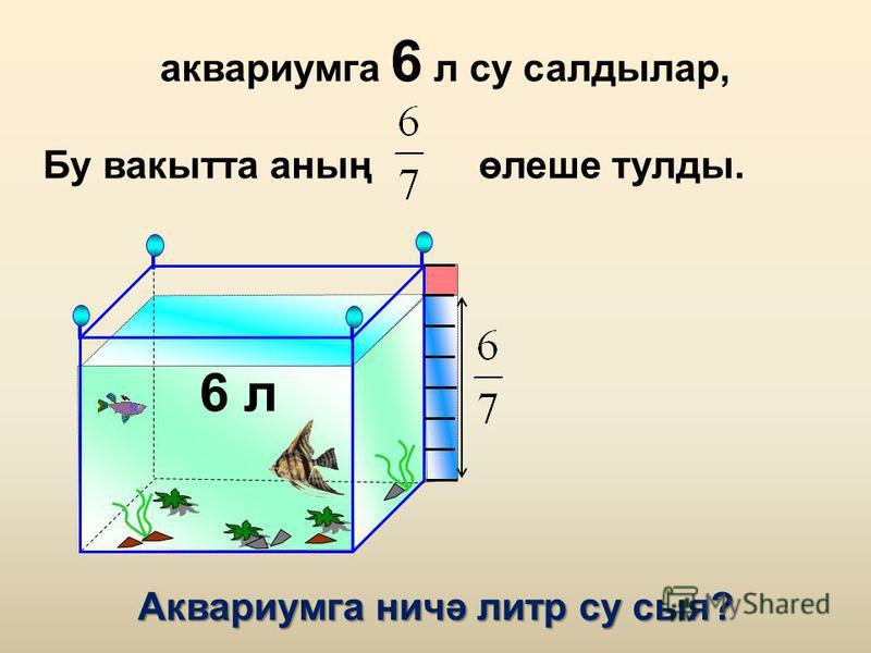 аквариумга 6 л су салдылар, Бу вакытта аның өлеше тулды. 6 л Аквариумга ничә литр су сыя?