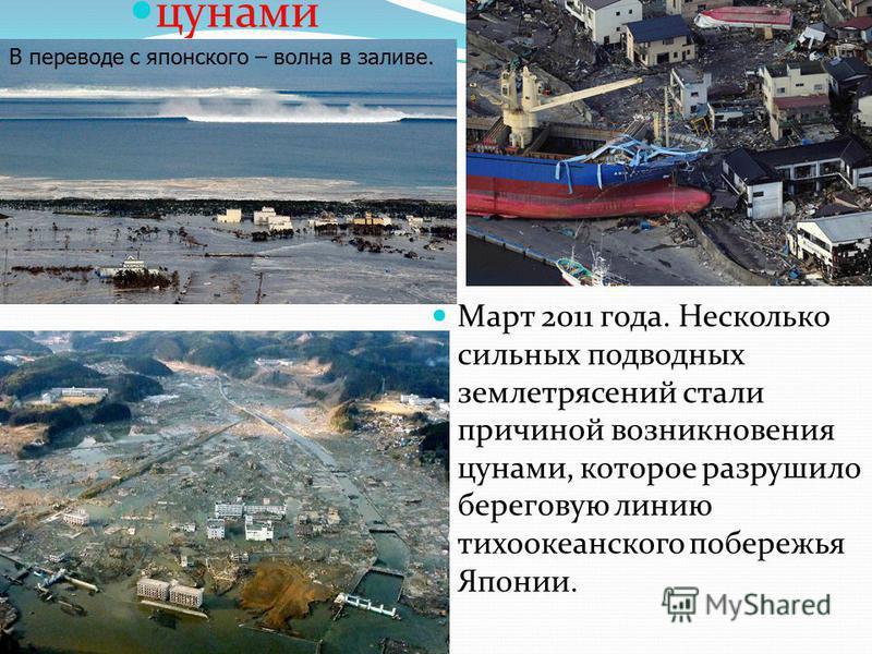 Март 2011 года. Несколько сильных подводных землетрясений стали причиной возникновения цунами, которое разрушило береговую линию тихоокеанского побережья Японии. цунами В переводе с японского – волна в заливе.