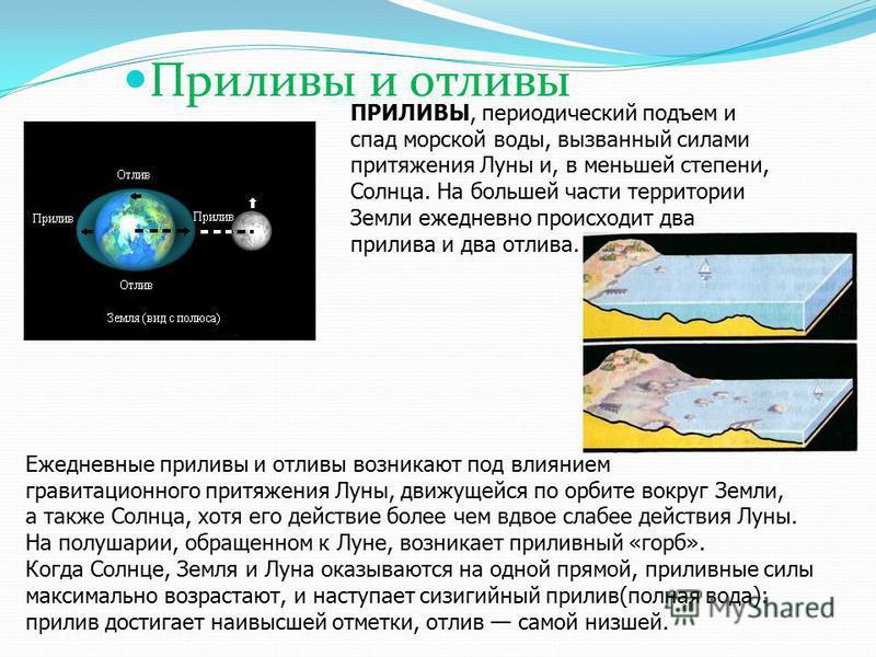Приливы и отливы ПРИЛИВЫ, периодический подъем и спад морской воды, вызванный силами притяжения Луны и, в меньшей степени, Солнца. На большей части территории Земли ежедневно происходит два прилива и два отлива. Ежедневные приливы и отливы возникают