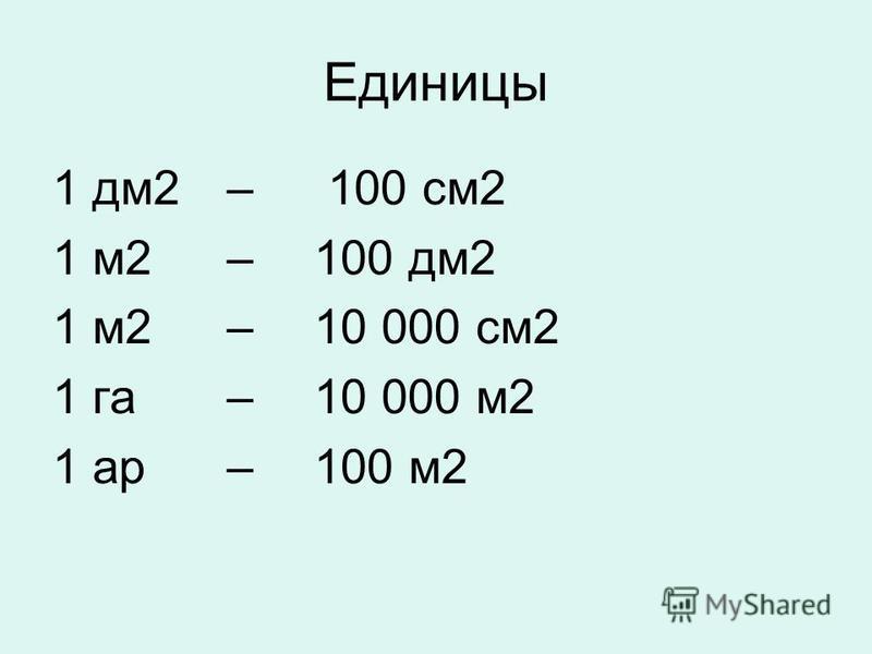 Единицы 1 дм 2 – 100 см 2 1 м 2 – 100 дм 2 1 м 2 – 10 000 см 2 1 га – 10 000 м 2 1 ар – 100 м 2