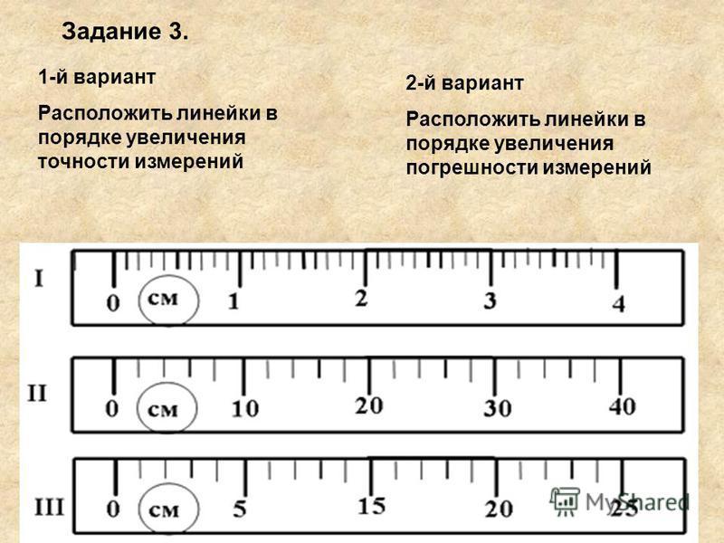 1-й вариант Расположить линейки в порядке увеличения точности измерений 2-й вариант Расположить линейки в порядке увеличения погрешности измерений Задание 3.