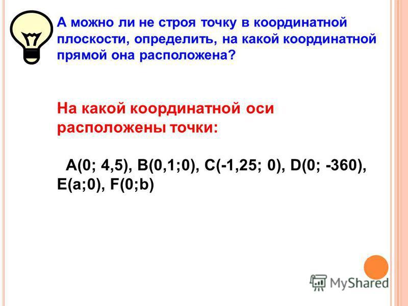 Итак, можно ли не строя точку в координатной плоскости, определить, в какой четверти она расположена? В какой координатной четверти расположены точки: А(-87; 98), В(0,1; -0,01), С(-1,25; -3,48), D(25; 360), Е(-2,5; -100), F(а;b), где а > 0, b > 0.