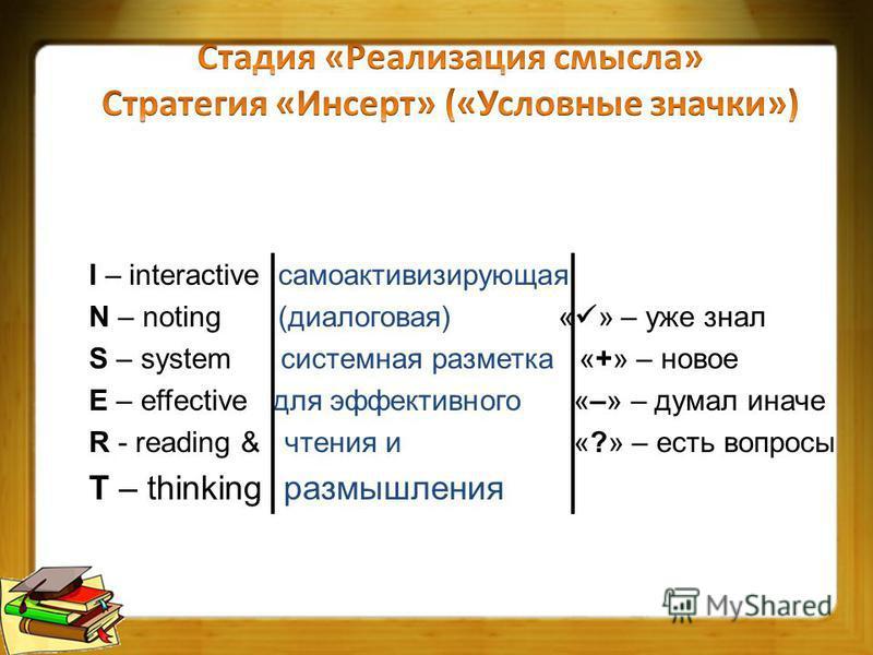 I – interactive само активизирующая N – noting (диалоговая) « » – уже знал S – system системная разметка «+» – новое E – effective для эффективного «–» – думал иначе R - reading & чтения и «?» – есть вопросы T – thinking размышления
