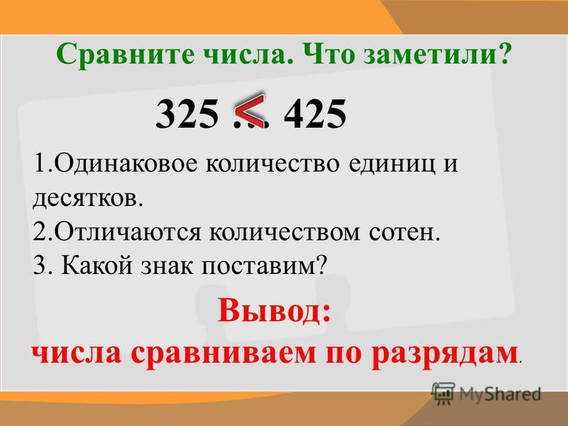 Сравните числа. Что заметили? 325 … 425 1. Одинаковое количество единиц и десятков. 2. Отличаются количеством сотен. 3. Какой знак поставим? Вывод: числа сравниваем по разрядам.