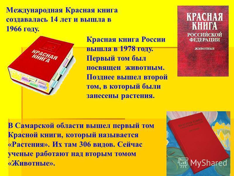 Красная книга России вышла в 1978 году. Первый том был посвящен животным. Позднее вышел второй том, в который были занесены растения. В Самарской области вышел первый том Красной книги, который называется «Растения». Их там 306 видов. Сейчас ученые р