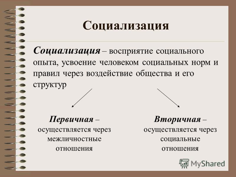 Социализация Социализация – восприятие социального опыта, усвоение человеком социальных норм и правил через воздействие общества и его структур Первичная – осуществляется через межличностные отношения Вторичная – осуществляется через социальные отнош