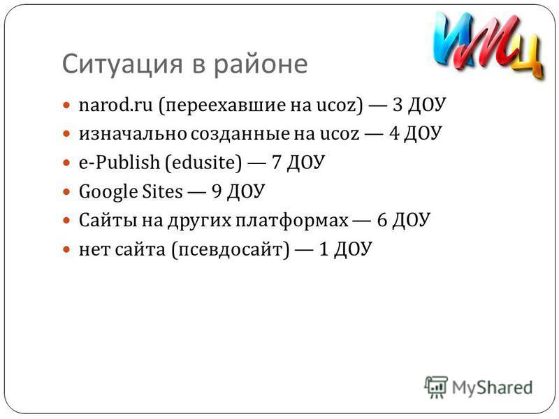 Ситуация в районе narod.ru ( переехавшие на ucoz) 3 ДОУ изначально созданные на ucoz 4 ДОУ e-Publish (edusite) 7 ДОУ Google Sites 9 ДОУ Сайты на других платформах 6 ДОУ нет сайта ( псевдосайт ) 1 ДОУ