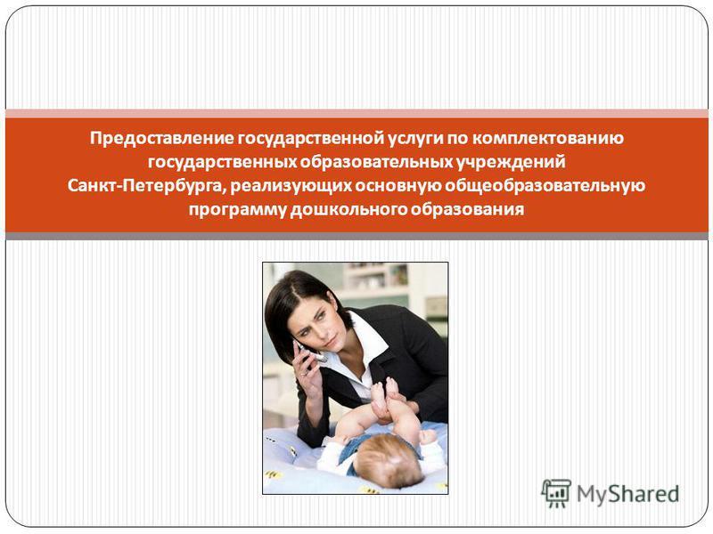 Предоставление государственной услуги по комплектованию государственных образовательных учреждений Санкт - Петербурга, реализующих основную общеобразовательную программу дошкольного образования