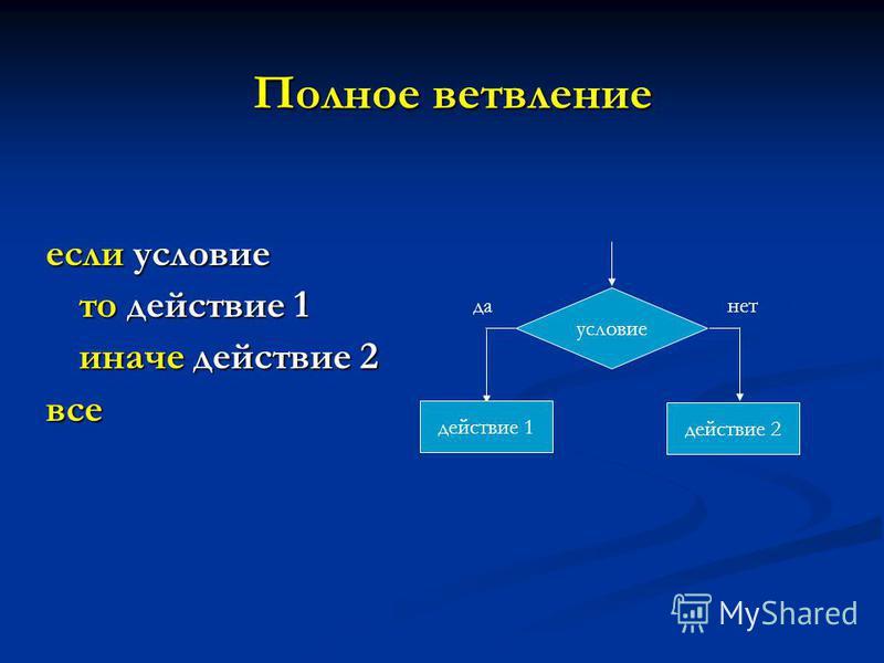 Полное ветвление если условие то действие 1 иначе действие 2 все условие да действие 1 нет действие 2