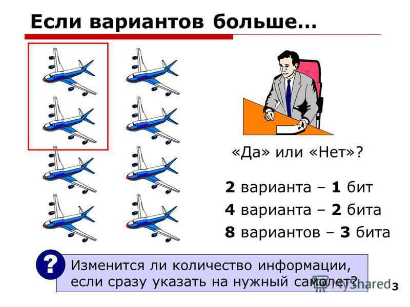 3 Если вариантов больше… «Да» или «Нет»? 2 варианта – 1 бит 4 варианта – 2 бита 8 вариантов – 3 бита Изменится ли количество информации, если сразу указать на нужный самолет? ?