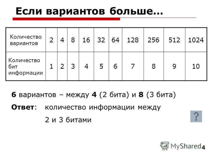 4 Если вариантов больше… Количество вариантов 2481632641282565121024 Количество бит информации 12345678910 6 вариантов – между 4 (2 бита) и 8 (3 бита) Ответ: количество информации между 2 и 3 битами