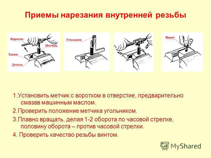 Приемы нарезания внутренней резьбы 1. Установить метчик с воротком в отверстие, предварительно смазав машинным маслом. 2. Проверить положение метчика угольником. 3. Плавно вращать, делая 1-2 оборота по часовой стрелке, половину оборота – против часов