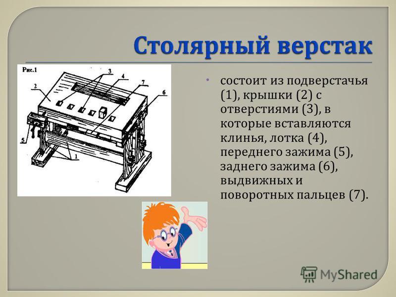 состоит из подверстачья (1), крышки (2) с отверстиями (3), в которые вставляются клинья, лотка (4), переднего зажима (5), заднего зажима (6), выдвижных и поворотных пальцев (7).