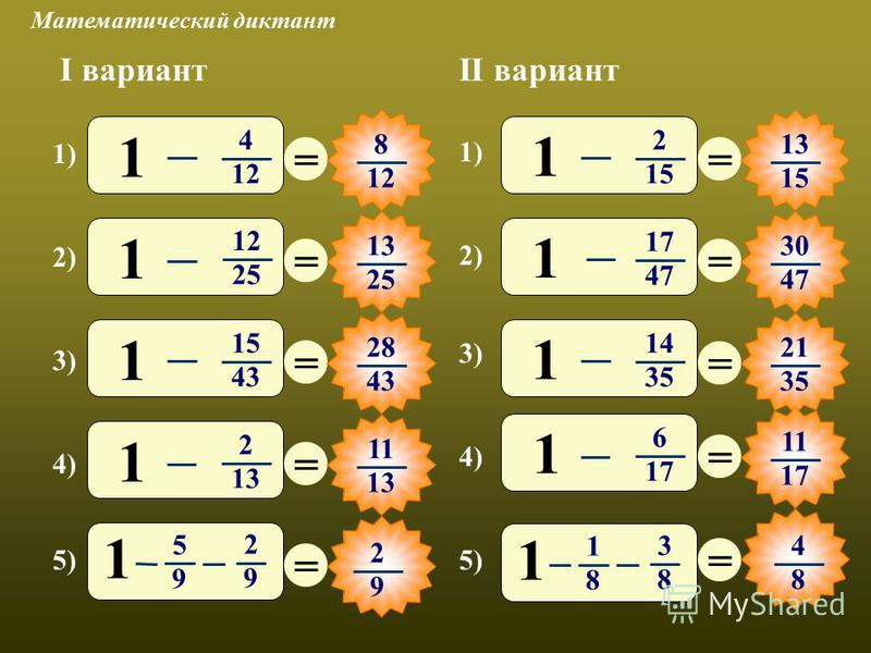 Математический диктант 1) 2) 3) 4) 5) I вариантII вариант 3) 4) 5) = 8 12 = 13 25 = 28 43 = 11 13 = = 15 = 30 47 = 21 35 = 11 17 = 1) 2) 4 12 1 25 1 15 43 1 2 13 1 5 9 2 9 1 2 15 1 17 47 1 14 35 1 6 17 1 1 8 3 8 1 2 9 4 8
