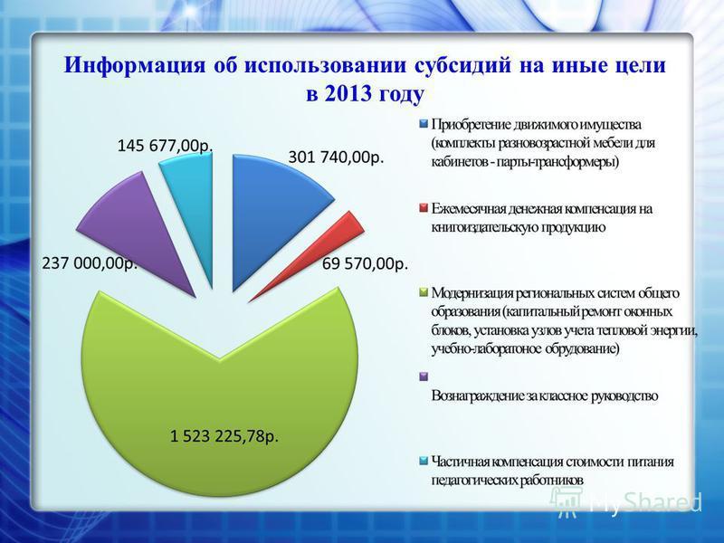 Информация об использовании субсидий на иные цели в 2013 году