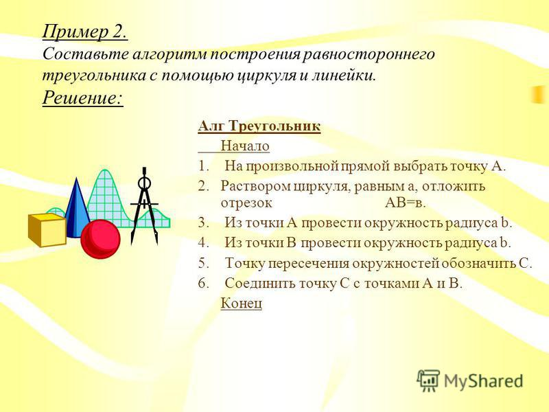 СПЕЦИАЛЬНЫЕ СОГЛАШЕНИЯ, ИСПОЛЬЗУЕМЫЕ ДЛЯ ЗАПИСИ СЛОВЕСНЫХ АЛГОРИТМОВ. 1) все шаги нумеруют, 2) для задания значения исходных данных используют указания: ВВЕСТИ, 3) для запоминания промежуточного результата используют вспомогательные переменные, 4) дл