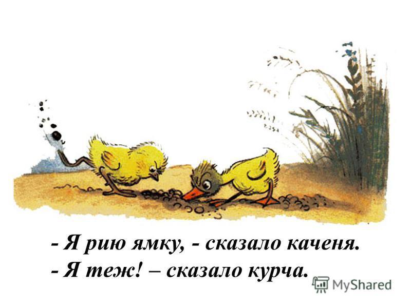 - Я йду гуляти,- сказало каченя. - Я теж! – сказало курча.