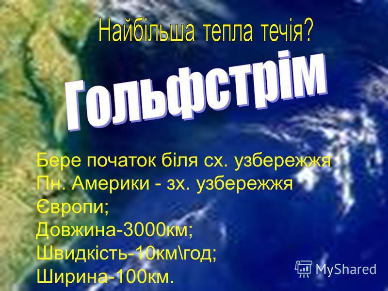 Бере початок біля сх. узбережжя Пн. Америки - зх. узбережжя Європи; Довжина-3000км; Швидкість-10км\год; Ширина-100км.