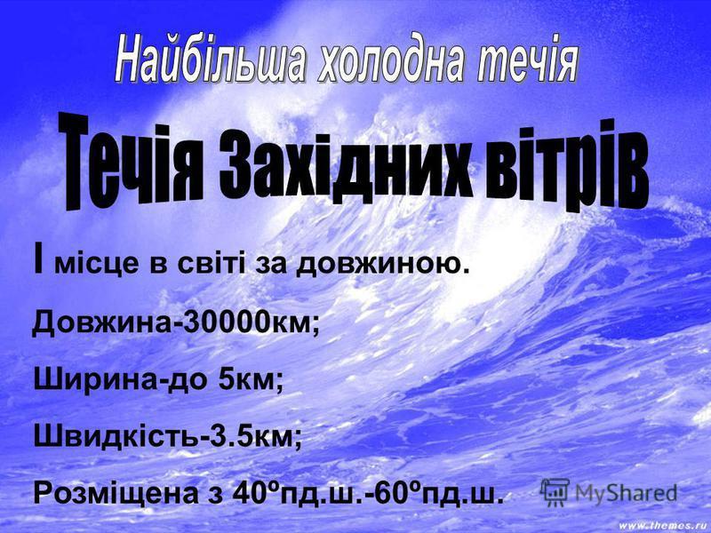 I місце в світі за довжиною. Довжина-30000км; Ширина-до 5км; Швидкість-3.5км; Розміщена з 40ºпд.ш.-60ºпд.ш.