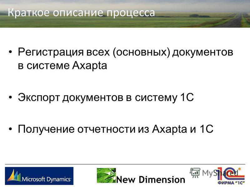 Краткое описание процесса New Dimension Регистрация всех (основных) документов в системе Axapta Экспорт документов в систему 1С Получение отчетности из Axapta и 1С