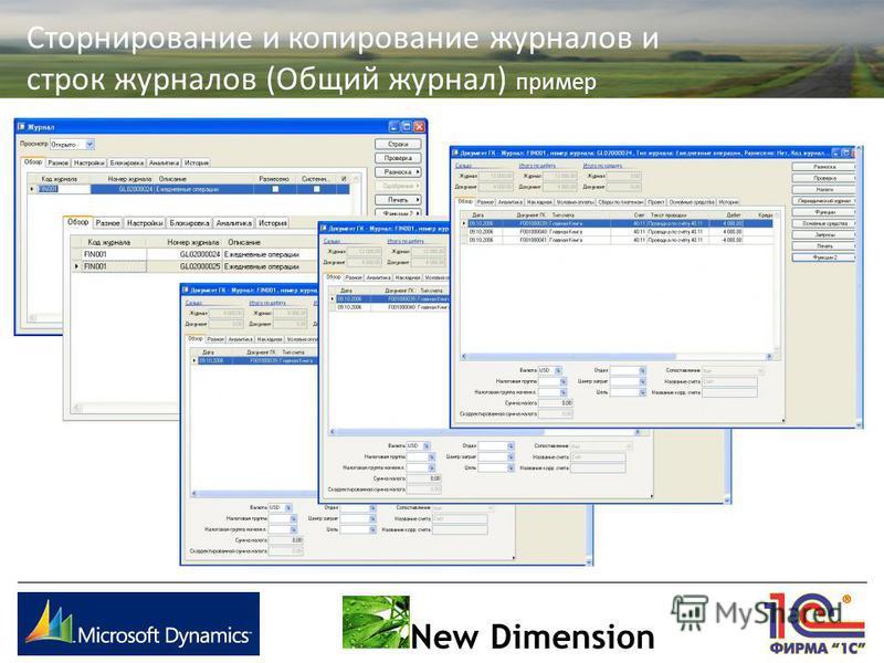 New Dimension Сторнирование и копирование журналов и строк журналов (Общий журнал) пример