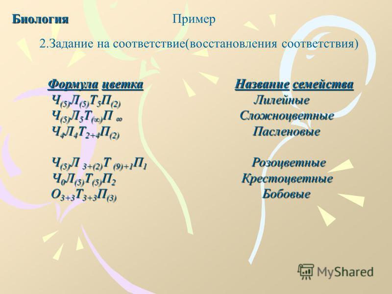 Пример Формула цветка Название семейства Формула цветка Название семейства Ч (5) Л (5) Т 5 П (2) Лилейные Ч (5) Л 5 Т () П Сложноцветные Ч (5) Л 5 Т () П Сложноцветные Ч 4 Л 4 Т 2+4 П (2) Пасленовые Ч 4 Л 4 Т 2+4 П (2) Пасленовые Ч (5) Л 3+(2) Т (9)+