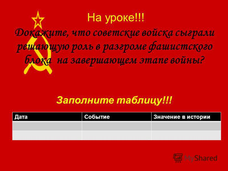 На уроке!!! Докажите, что советские войска сыграли решающую роль в разгроме фашистского блока на завершающем этапе войны? Дата СобытиеЗначение в истории Заполните таблицу!!!