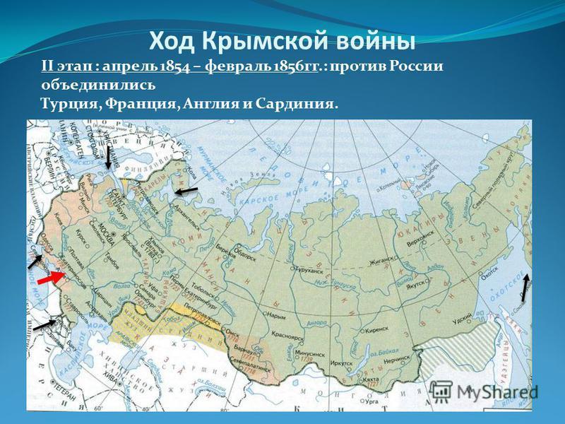 II этап : апрель 1854 – февраль 1856 гг.: против России объединились Турция, Франция, Англия и Сардиния. Ход Крымской войны