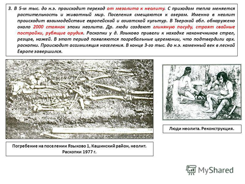 3. В 5-м тыс. до н.э. происходит переход от мезолита к неолиту. С приходом тепла меняется растительность и животный мир. Поселения смещаются к озерам. Именно в неолит происходит взаимодействие европейской и азиатской культур. В Тверской обл. обнаруже