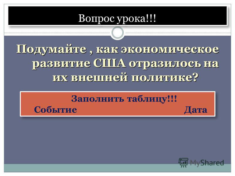 Вопрос урока!!! Подумайте, как экономическое развитие США отразилось на их внешней политике? Заполнить таблицу!!! Событие Дата Заполнить таблицу!!! Событие Дата