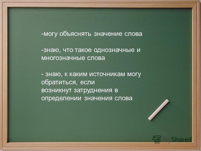-могу объяснять значение слова -знаю, что такое однозначные и многозначные слова - знаю, к каким источникам могу обратиться, если возникнут затруднения в определении значения слова