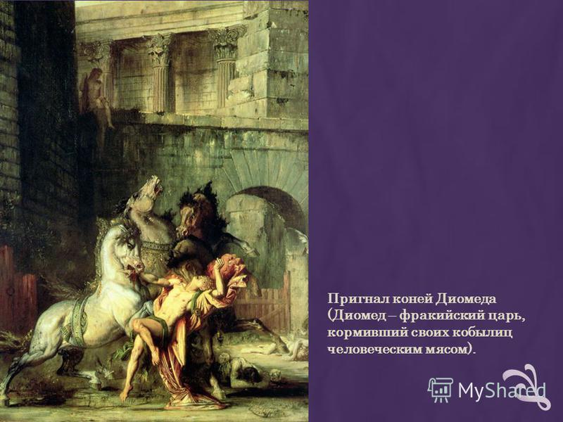 Пригнал коней Диомеда (Диомед – фракийский царь, кормивший своих кобылиц человеческим мясом).