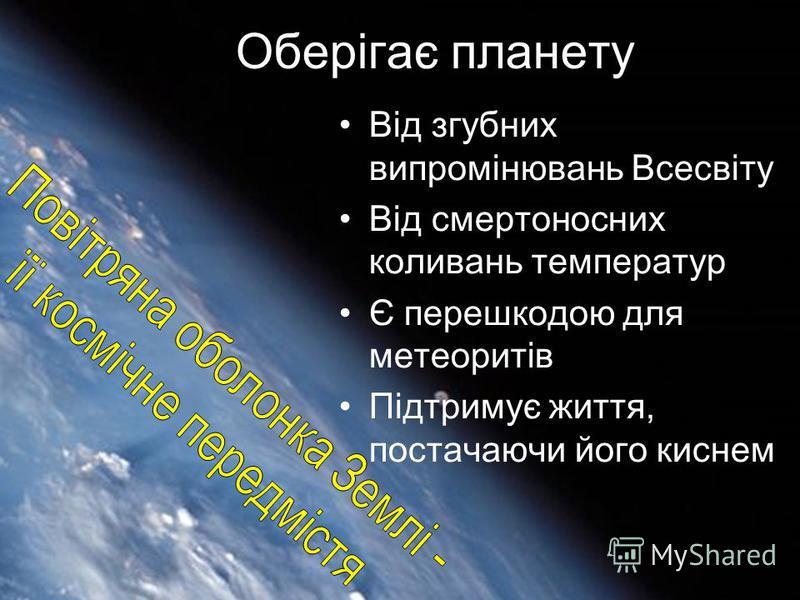 Оберігає планету Від згубних випромінювань Всесвіту Від смертоносних коливань температур Є перешкодою для метеоритів Підтримує життя, постачаючи його киснем