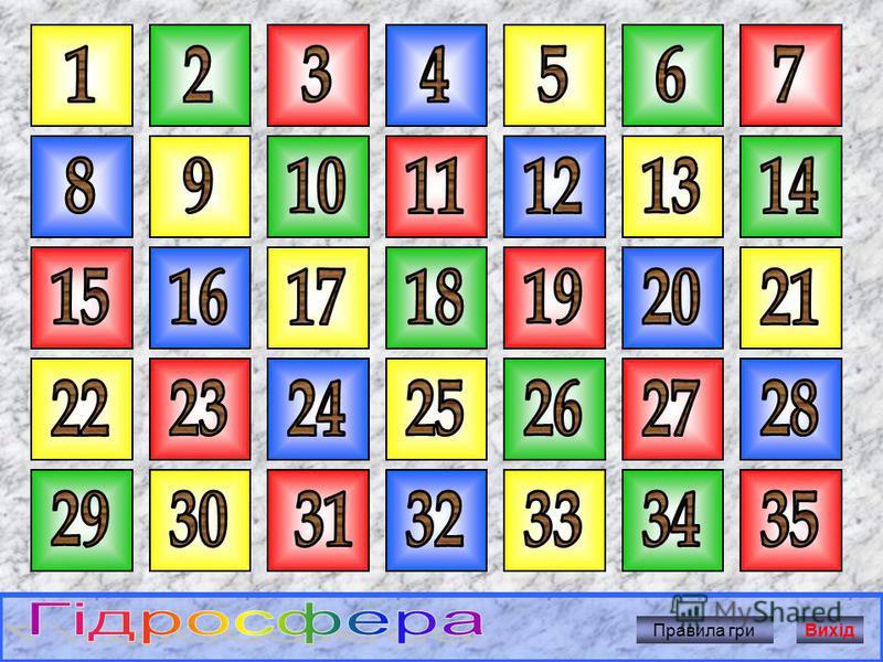 Розпочати гру 1. Вибери клітинку з номером і клацни по ній мишкою. 2. Прочитай запитання. 3. Щоб дізнатися вірну відповідь, клацни мишкою по екрану. 4.Щоб продовжити гру, клацни мишкою по кнопці «Продовжити гру». Вихід 9 Назвіть частини Світового оке
