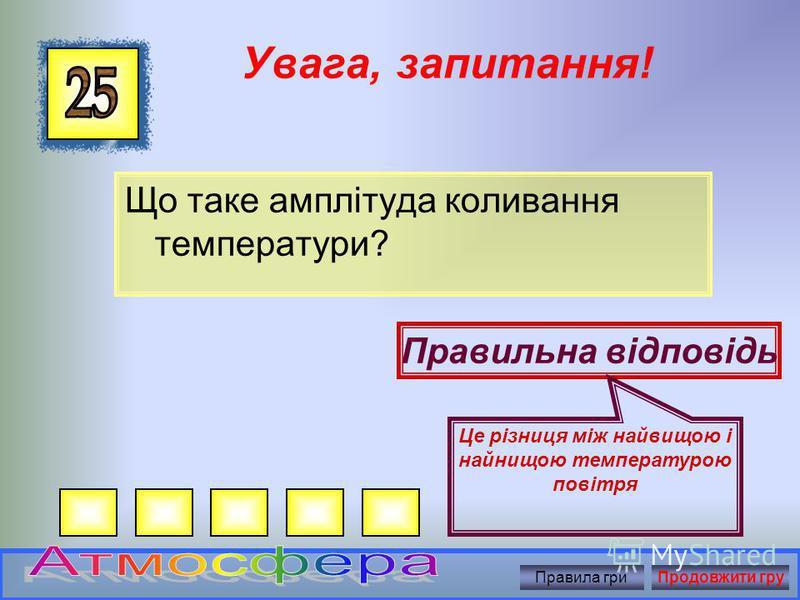 Увага, запитання! Від чого нагрівається повітря? Правильна відповідь Від нагрітої земної поверхні Правила гриПродовжити гру